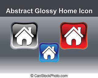 家, ボタン, アイコン, 抽象的, グロッシー