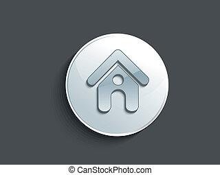 家, ボタン, ベクトル, 抽象的, グロッシー