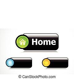 家, ボタン, 抽象的, 銀, グロッシー