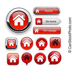 家, ボタン, high-detailed, 網, collection.