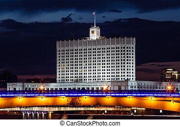 家, モスクワ, 堤防, 白, 川, 夜, ロシア