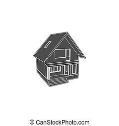 家, モデル, ベクトル, 3次元, イラスト