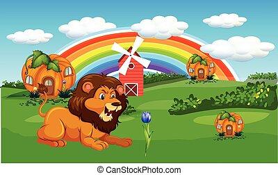 家, ライオン, 農場, カボチャ