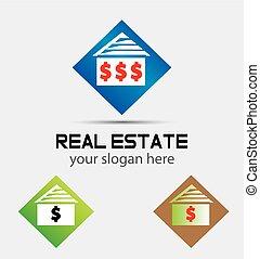 家, ロゴ, 印, ドル, お金