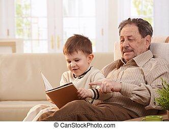 家, 一緒に, 孫, 祖父