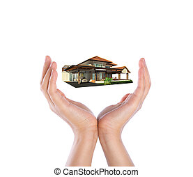 家, 上に, 2つの手