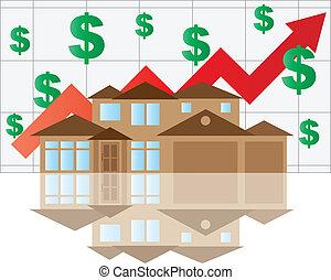 家, 上昇, 値, グラフ