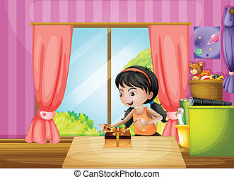 家, 中, 若い, 包みを解くこと, 女の子, プレゼント