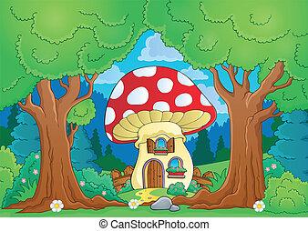 家, 主題, 木, きのこ