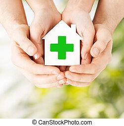 家, 交差点, ペーパー, 緑, 手を持つ