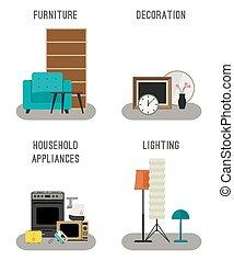 家, 付属品, icons., 家具