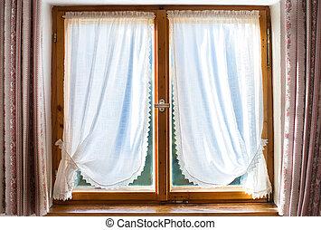 家, 伝統的である, カーテン, 古い, 木製である, 窓, 白