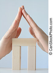 家, 作られた, から, おもちゃのブロック, 隔離された, 白, 背景, ∥で∥, 手, ∥ように∥, 屋根