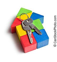 家, 作られた, から, 木製のおもちゃ, ブロック, ∥で∥, キー