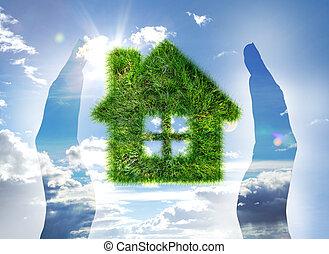 家, 作られた, の, 草, 上に, 青い空