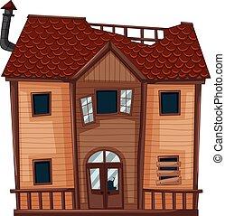 家, 作られた, 古い, 木
