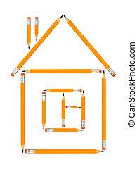 家, 作られた, 鉛筆
