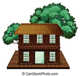 家, 作られた, two-stories, 木