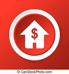 家, 価格, 赤, アイコン