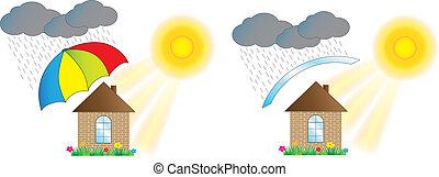 家, 保護される, 傘