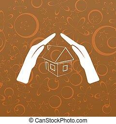 家, 保険, アイコン