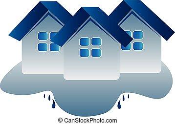 家, 保険, ロゴ