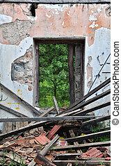 家, 倒れられる, 捨てられた, 屋根