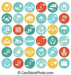 家, 健康を旅行しなさい, セット, 自動車, 投資, 災害, アイコン, 保険
