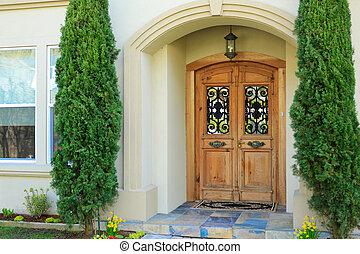 家, 入口, 贅沢, ポーチ