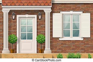 家, 入口, columns.