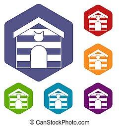 家, 六角形, セット, ねこ, アイコン