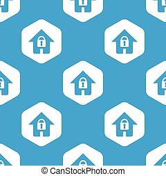 家, 六角形, ロックされた, パターン