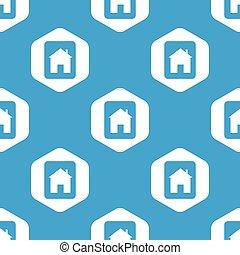 家, 六角形, 印, パターン