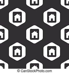家, 六角形, 黒, タブレット, パターン