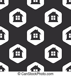 家, 六角形, 黒, パターン