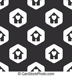 家, 六角形, 黒, 最愛の人, パターン