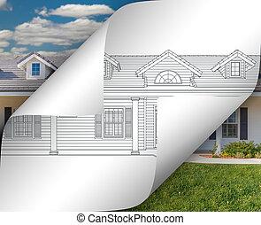 家, 写真, ひっくり返る, 図画, の後ろ, コーナー, ページ