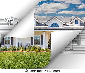 家, 写真, 反転しているページ, の後ろ, コーナー, 図画