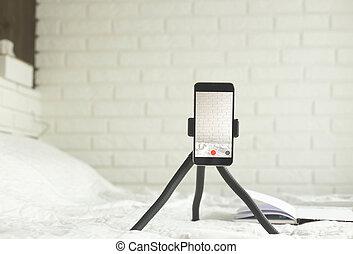 家, 写真, smartphone., 作成, ビデオ, 環境, 内容