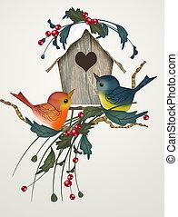 家, 冬, 鳥