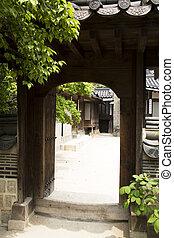 家, 南, 伝統的である, 韓国, ドア