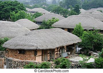 家, 南, thatched, 伝統的である, 韓国, naganeupseong, 村