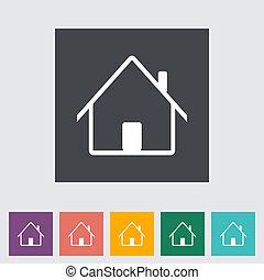 家, 単一, icon., 平ら