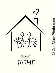 家, 単純である, 隔離された, doodles, 白い背景, ポスター, 家族, イラスト, 甘い, ベクトル, 家, 縦