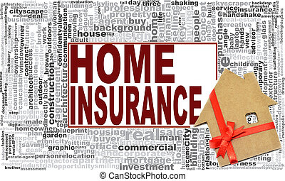 家, 単語, 保険, 雲