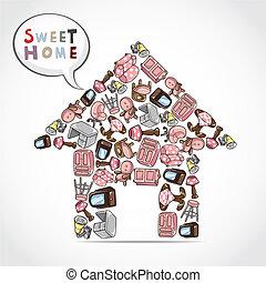 家, 卡片, 家具