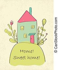 家, 卡片, 甜