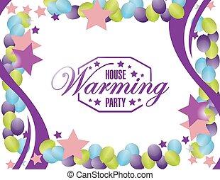 家, 印, カード, 背景, パーティー, 風船, 暖まること