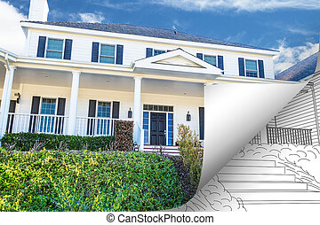 家, 反転しているページ, の後ろ, 写真のコーナー, 図画