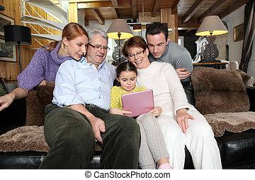 家, 収集, ラップトップ, 家族